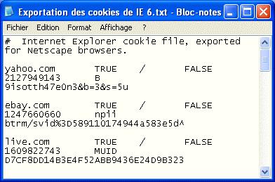 Exportation des fichiers cookie de IE 6