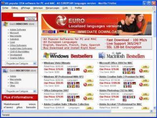 Site d'arnaque à la vente de logiciels OEM