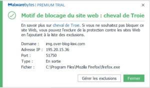 Malwarebytes bloque un malware en temps réel