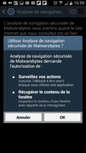 Navigation sécurisée de Malwarebytes sur mobile Android