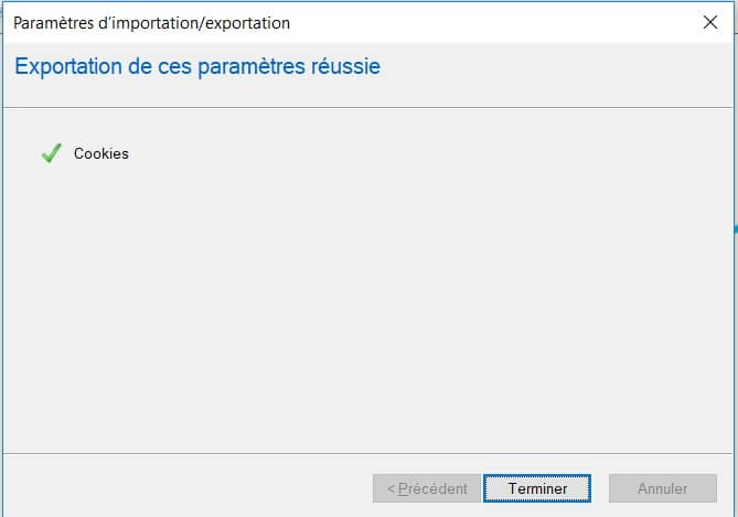 export des cookies dans Internet Explorer 11