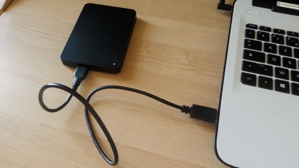 Disque dur externe USB 3.0 connecté à un PC